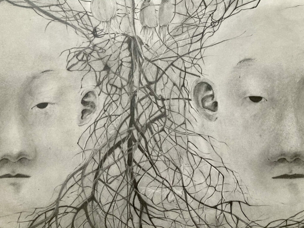 Family Tree (2021) graphite drawing on paper 30 x 20 in
