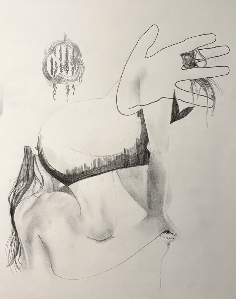This artwork is a pencil drawing on paper. From the left, a faceless partial profile of a girl blends into the body of another faceless girl, her dress only partially shaded. Instead of a head, a traced hand emerges, locks of hair interlaced between its fingers.