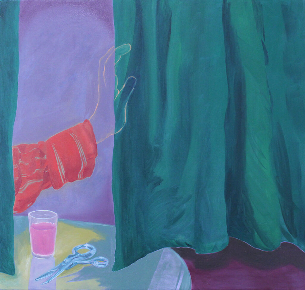Emerald curtains pushed aside by an outlined hand. A table with scissors and a cup with pink liquid.
